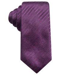 Alfani Purple Men's Stripe Silk Slim Tie, Created For Macy's for men