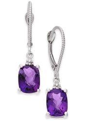Macy's Purple Amethyst (2-3/4 Ct. T.w.) & Diamond Accent Drop Earrings In 14k White Gold