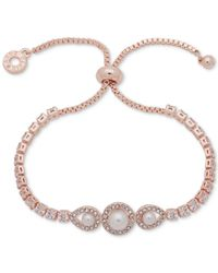 Anne Klein - Metallic Rose Gold-tone Crystal & Imitation Pearl Slider Bracelet - Lyst