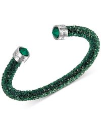 Swarovski - Green Silver-tone Black Crystal And Crystaldust Open Cuff Bracelet - Lyst