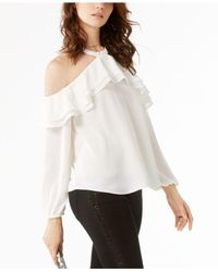 INC International Concepts - White Ruffled Cold-shoulder Top - Lyst