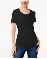 Karen Scott Black Scoop-neck T-shirt In Regular & Petite Sizes, Created For Macy's