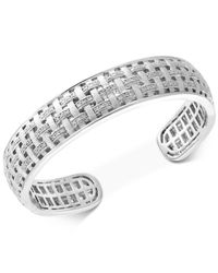 Effy Collection Metallic Diamond Woven Bangle Bracelet (1/3 Ct. T.w.) In Sterling Silver