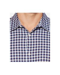 Perry Ellis Blue Stretch Herringbone Check Shirt for men