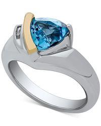 Macy's - Metallic Blue Topaz (1-1/3 Ct. T.w.) & Diamond Accent Ring In Sterling Silver & 14k Gold - Lyst