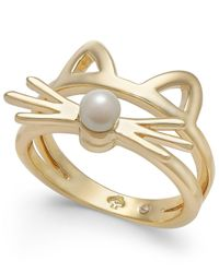 Kate Spade - Metallic Gold-tone & Imitation Pearl Cat Ring - Lyst