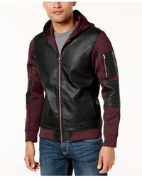 INC International Concepts - Black Men's Mixed-media Colorblocked Jacket for Men - Lyst