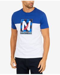 Nautica - Blue Pieced Logo Graphic-print Classic Fit T-shirt for Men - Lyst