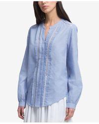 DKNY - Blue Pleated Ladder-trim Shirt, Created For Macy's - Lyst