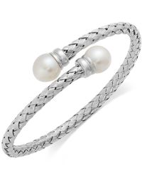 Macy's - Multicolor Cultured Freshwater Pearl Bypass Bangle Bracelet In Sterling Silver (10mm) - Lyst