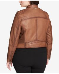 DKNY - Multicolor Plus Size Asymmetrical Leather Jacket - Lyst