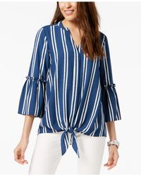 Alfani Blue Striped Tie-front Blouse, Created For Macy