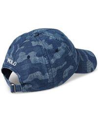Polo Ralph Lauren Blue Men's Camo Chambray Baseball Cap for men