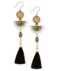 Lucky Brand - Metallic Gold-tone Multi-stone Sunburst & Tassel Drop Earrings - Lyst