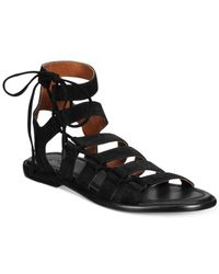 Frye   Black Women's Blair Side Ghillie Flat Sandals   Lyst