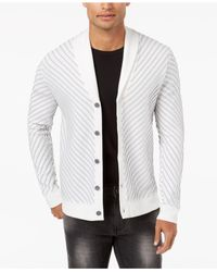 INC International Concepts - White Men's Textured Cardigan for Men - Lyst