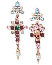 Betsey Johnson - Pink Rose Gold-tone Multi-stone & Imitation Pearl Skull Mismatch Drop Earrings - Lyst