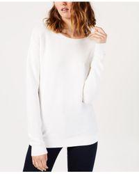 Lacoste - White Cotton Boat-neck Sweater - Lyst