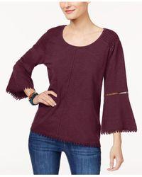 Style & Co. Purple Lantern-sleeve Top