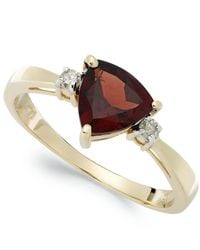 Macy's | Metallic 14k Gold Garnet (1-1/3 Ct. T.w.) And Diamond Accent Ring | Lyst