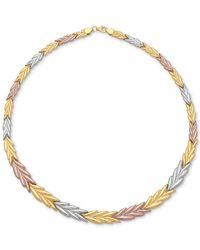 Macy's Metallic Tri-color Chevron Stampato Collar Necklace In 14k Gold, White Gold And Rose Gold