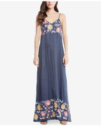 Karen Kane - Blue Cotton Embroidered Maxi Dress - Lyst
