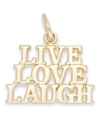 Macy's Metallic Live Laugh Love Stacked Charm In 14k Gold