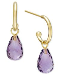 Macy's Metallic Amethyst Hoop Earrings In 14k Gold (6-1/2 Ct. T.w.)