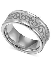 Macy's - Gray Men's White Tungsten Ring, Laser-detailed Scroll And Cross Wedding Band for Men - Lyst