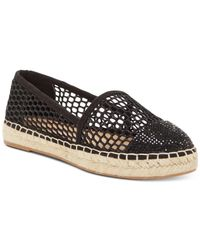 INC International Concepts Black Corvina Capped-toe Woven Espadrille Flats, Created For Macy
