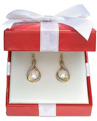 Macy's | Metallic Cultured Freshwater Pearl (7mm) And Diamond (1/10 Ct. T.w.) Earrings In 14k Gold | Lyst
