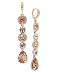 Givenchy - Metallic Teardrop, Round Crystal And Pavé Linear Drop Earrings - Lyst