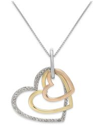 Macy's Metallic Diamond Tri-tone Triple Heart Pendant Necklace In Sterling Silver And 14k Gold (1/5 Ct. T.w.)