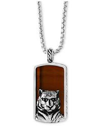Effy Collection - Metallic Men's Tiger-eye (35-1/2 X 19mm) Tiger Pendant Necklace In Sterling Silver And Black Rhodium for Men - Lyst