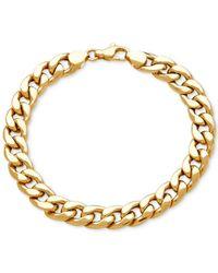 Macy's Metallic Men's Heavy Curb Link Bracelet In 10k Gold