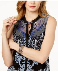 INC International Concepts Multicolor I.n.c. Printed Split-neck Top, Created For Macy's