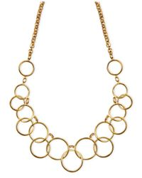 Nine West - Metallic 1necklace, Gold-tone Circle Frontal Necklace - Lyst