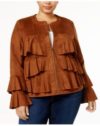 INC International Concepts | Brown Plus Size Ruffled Faux-suede Jacket | Lyst