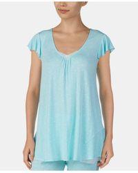 Ellen Tracy Blue Mesh-trim Flounce-back Printed Pajama Top