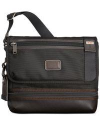 Tumi Gray Alpha Bravo Beale Flap Crossbody Bag for men
