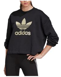 Adidas Black Cotton Metallic-logo Cropped Sweatshirt
