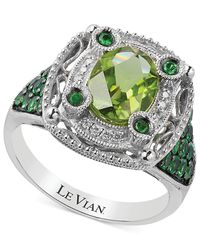 Le Vian - Green Multi-stone And Diamond Accent Ring In 14k White Gold (2-1/3 Ct. T.w.) - Lyst