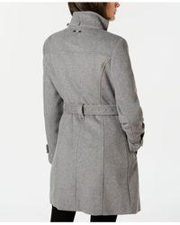Calvin Klein Gray Faux-fur-trim Belted Walker Coat