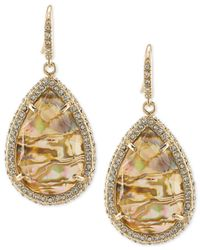 ABS By Allen Schwartz - Metallic Gold-tone Pavé & Abalone Stone Drop Earrings - Lyst