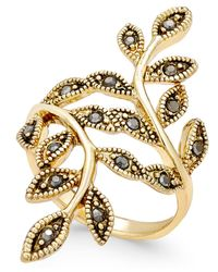 INC International Concepts - Metallic Gold-tone Black Crystal Bypass Vine Ring - Lyst