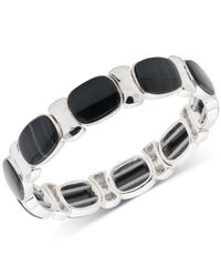 Nine West - Black Multi-stone Stretch Bracelet - Lyst