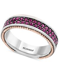 Effy Collection - Metallic Men's Ruby Band (1-1/2 Ct. T.w.) In Sterling Silver, 18k Rose Gold And Black Rhodium for Men - Lyst