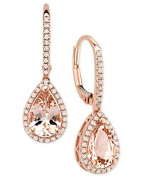 Macy's - Metallic Morganite (2-1/10 Ct. T.w.) & Diamond (1/4 Ct. T.w.) Drop Earrings In 14k Rose Gold - Lyst