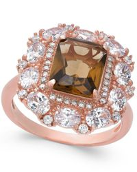 Macy's - Multicolor Synthetic Smoky Topaz & Cubic Zirconia Ring In 14k Rose Gold-plated Sterling Silver - Lyst