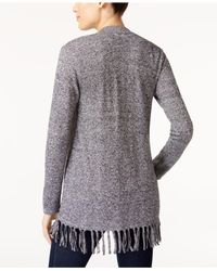 Style & Co. - Multicolor Petite Fringed Cardigan - Lyst